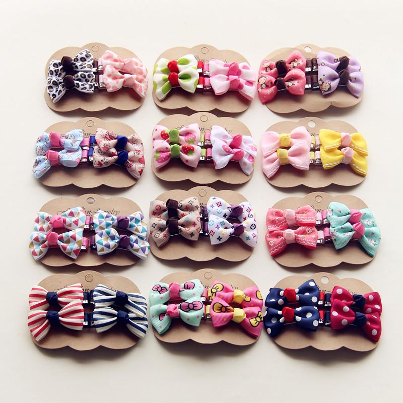 4PCS/lot Newly Design Grosgrain Baby Small Bow Hairpins Girls Hair Accessories Children Hairgrips Kids Hair Clips Mini   Headwear