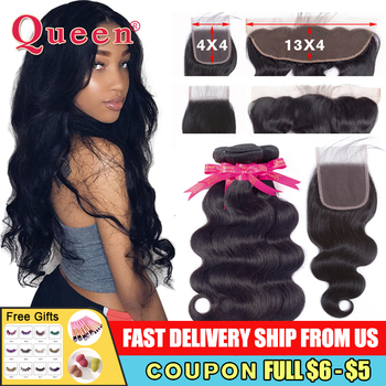 Body Wave Bundles With Closure Brazilian Hair Weave Remy Frontal QUEEN HAIR - discount item  50% OFF Human Hair (For Black)