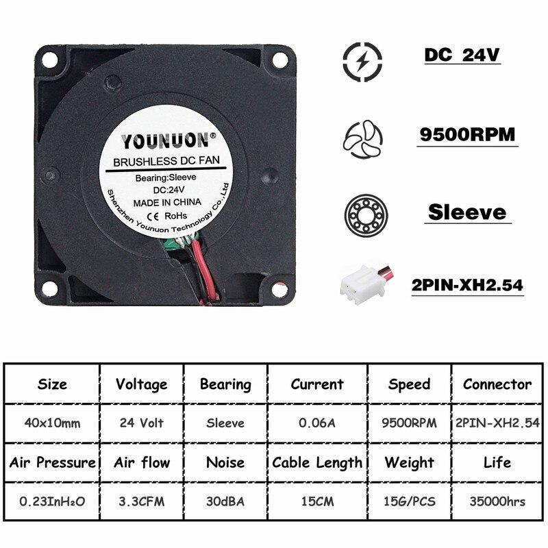 Комплект из 2 предметов, 40 мм 3D-принтеры вентилятор 12В 24В 5В 4010 воздуходувка принтер аксессуары для систем охлаждения DC Турбовентилятор Радиальные Вентиляторы 40x40x10 мм - Цвет лезвия: 24V Sleeve