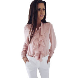 Button Blouses Office-Stand Shirt Fashion Long-Sleeve Elegant Ruffles Autumn Women Casual