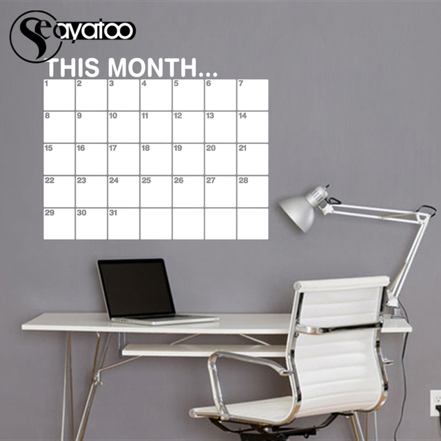 This Month Calendar Erasable Chalkboard Planner 58x72cm 8
