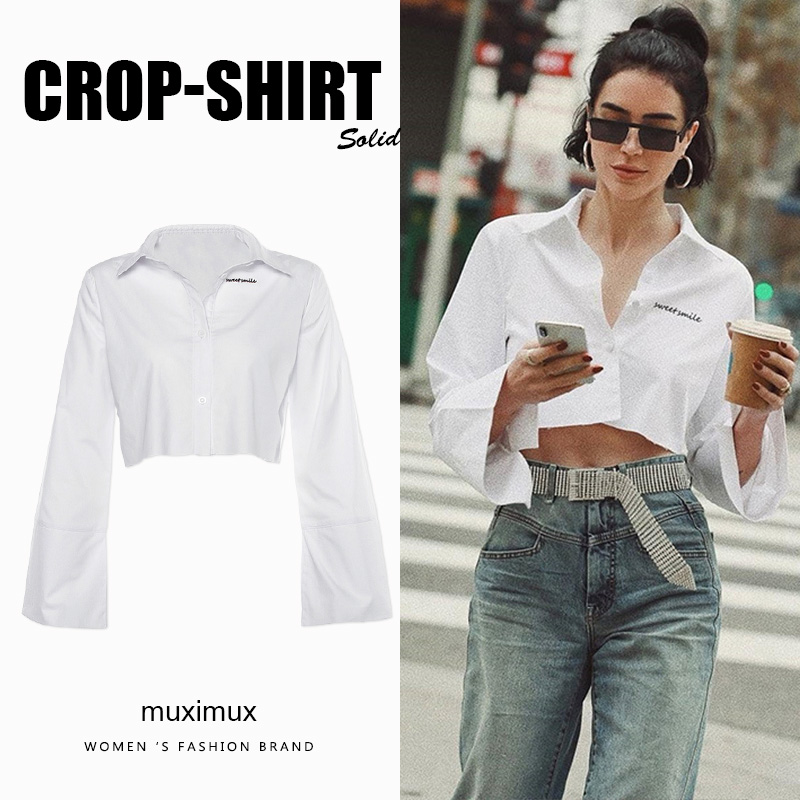 2020 Autumn Women Streetwear Blouse Shirt Long Flare Sleeve Solid White Crop Tops Winter Short Shirt For Women Female