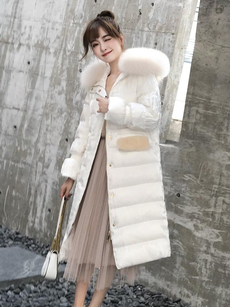 Winter Women's Down Jacket Woman Hooded Big Fox Fur Collar Long White Duck Down Coat Korean Warm Puffer Jackets HL0818 S