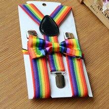 Детский комплект с разноцветными подтяжками и радужным галстуком-бабочкой для мальчиков и девочек, Детский комплект с разноцветным галстуком-бабочкой на застежке для брюк