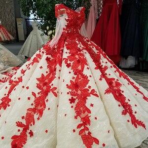 Image 4 - LS09849 đỏ 3D Hoa Dạ Hội Dài Cổ Chữ V voan nữ tay ôm vai sáng bóng dạ hội với Đoàn tàu 100% đẹp như hình ảnh