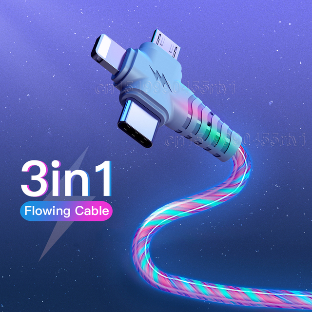 3in1 Flow Luminous Lighting usb cable for iPhone 12 11 Pro 3 in 1 2in1 LED Micro USB Type C 8Pin charger Wire for Huawei Xiaomi 1