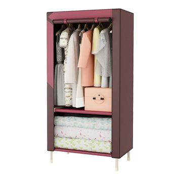 Simple wardrobe 25mm steel tube thick thickening reinforcement assembly cloth wardrobe folding single fabric wardrobe