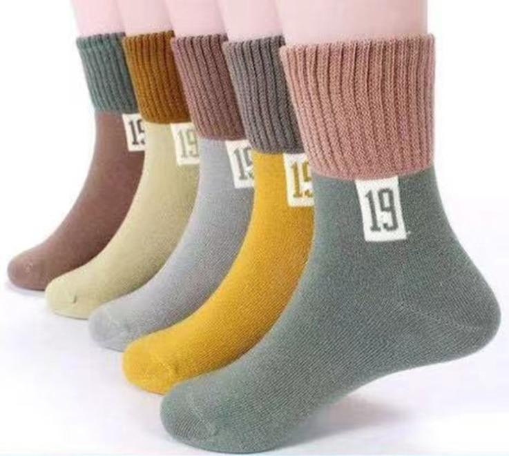 5 paren/partij herfst Warm Katoen kinderen Sokken Jongens Meisjes Borduren Dier Effen Kleur Ster sokken Gebreide Baby Kids Peuter