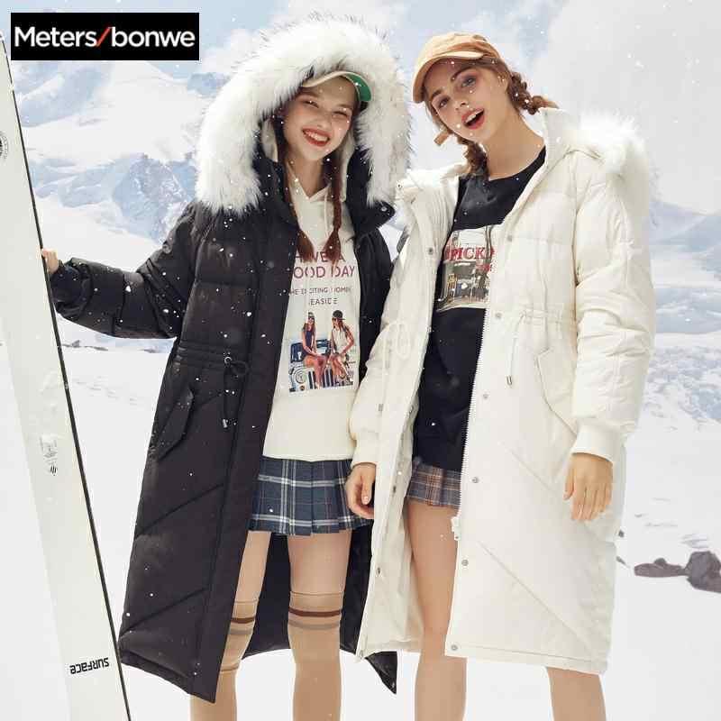 Metersbonwe Lange Warm Donsjack Vrouwen Winter Draagbaarheid Warm 80% Witte Eendendons Winter Bontkraag Capuchon Vrouwelijke Down Jas