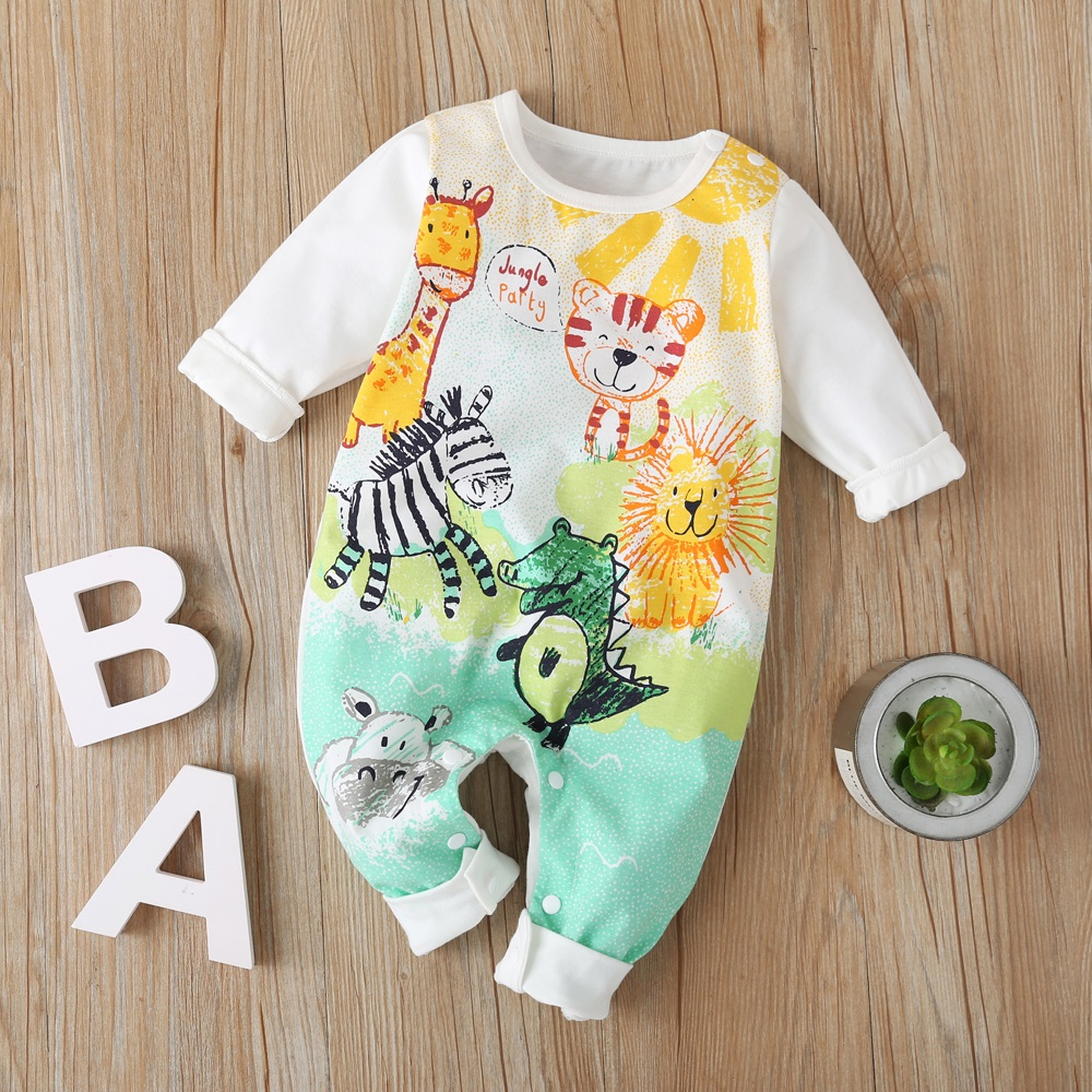 New Autumn Baby Newborn Baby Rompers Long Sleeve Line Dinosaur Tiger Cute Soft Clothes Boys Cotton Jumpsuit High Quality 0-24M 1