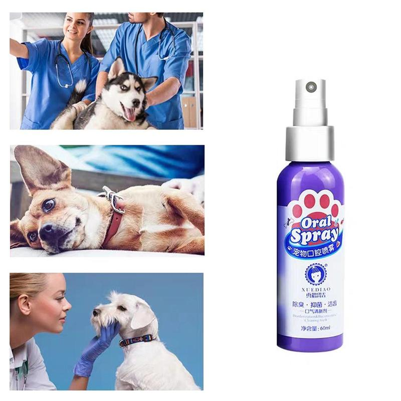 60ml Pet Breath Freshener Spray Non-toxic Dog Teeth Cleaner Fresh Breath Mouthwash Prevent Illness No Brush Care Reduce Tartar