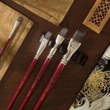 2018f pincel de tinta plana alta qualidade esquilo cabelo de madeira lidar com aquarela pintura arte escovas artísticas para desenho, zytang