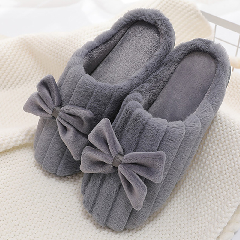 Warm Winter slippers women Large size 43 44 Butterfly knot Fur slippers ladies Striped Suede Soft Home Slippers women Superstar in Slippers from Shoes