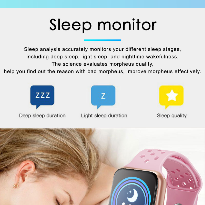 F9 s PK iwo8 b57 Touch Screen smart watches to Monitor Heart rate and Blood pressure Supported for IOS Android for men women 16