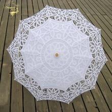 De sol paraguas sombrilla bordado sombrilla para novia boda blanco de marfil paraguas Ombrelle Dentelle Parapluie Mariage decorativo