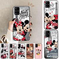 Funda de teléfono de Minnie Mouse de disney para Samsung Galaxy, carcasa negra de arte para Samsung Galaxy A50, A51, A20, A71, A70, A40, A30, A31, A80, E, 5G S