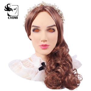Image 1 - CYOMI miękkiego silikonu realistyczne kobiece głowy Beatrice biedronka styl Crossdresser maska Handmade makijaż Transgender maska 4G