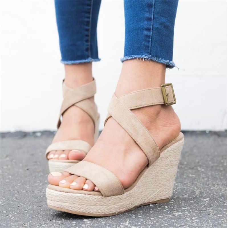 Scarpe Delle Signore Della Donna Sandali Delle Donne di Estate Pompe Cross-Legato di Alta Tacchi Chaussure Piattaforma Zapatos De Mujer 2020