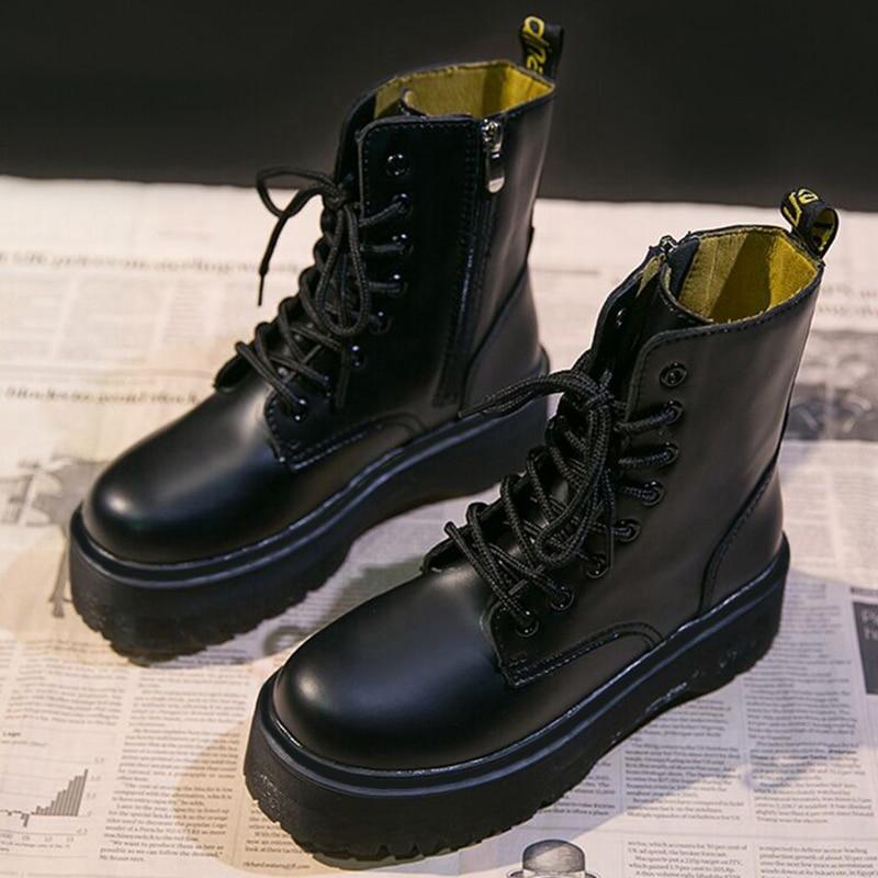 منصة أحذية كاوبوي النساء أحذية جلدية حذاء من الجلد للنساء التمهيد الشتاء فاسق سميكة أسفل دراجة نارية الأحذية حقيقية Mujer