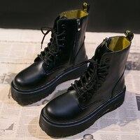 Plate-forme bottes Cowboy femmes chaussures en cuir bottines pour femmes botte hiver Punk fond épais moto bottes véritable Mujer