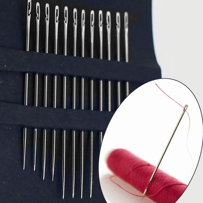 12pcs Sewing Needles Multi-size Side Opening Hole Fast Through Stainless Steel Darning Hand Tools Diy Jewelry Accessories