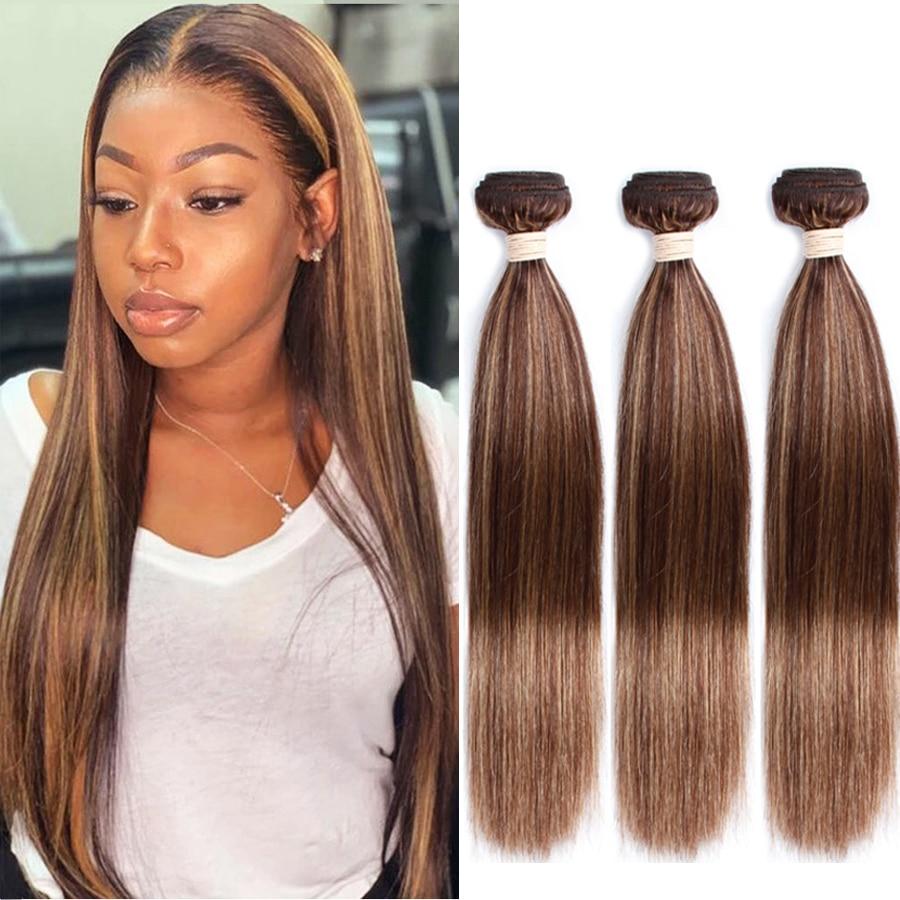 P4-27 Pre-Colored Human Hair Bundles  Brazilian Straight Hair Bundles 3Bundles Remy Human Hair Extensions Dorisy Hair