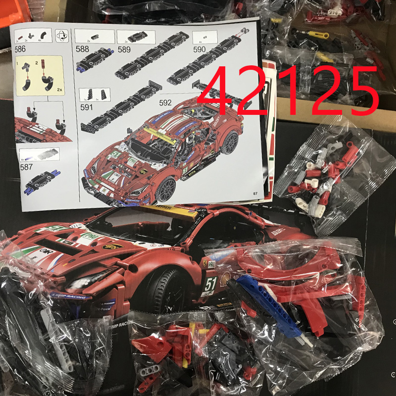 Technical Series Compatible 42125 Super Sports Racing Car 488 GTE Model Building Blocks Bricks Kids Toys Birthday Gifts