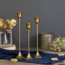 Simples momentos 3 unid/set soportes de vela de bronce Retro boda fiesta Vintage Metal candelero para decoración del hogar portavelas de Navidad