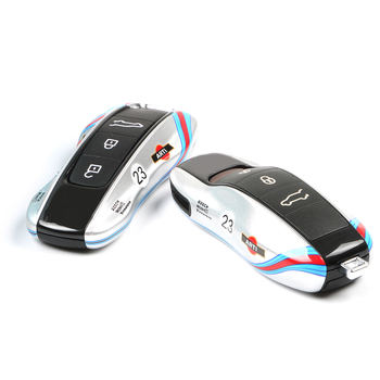 New Key Cover For Porsche Macan Cayenne Panamera 911 9YA 971 Alarm Remote Hard Shell Holder Case Cap Silver NO.23 Racing Car - sale item Interior Accessories