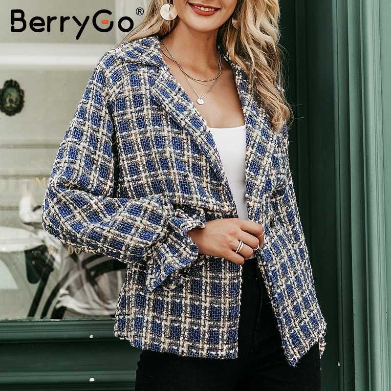 BerryGo Mode plaid tweed jacke frauen mantel Lose laterne hülse streetwear mäntel Elastische hohe taille damen outwear jacken