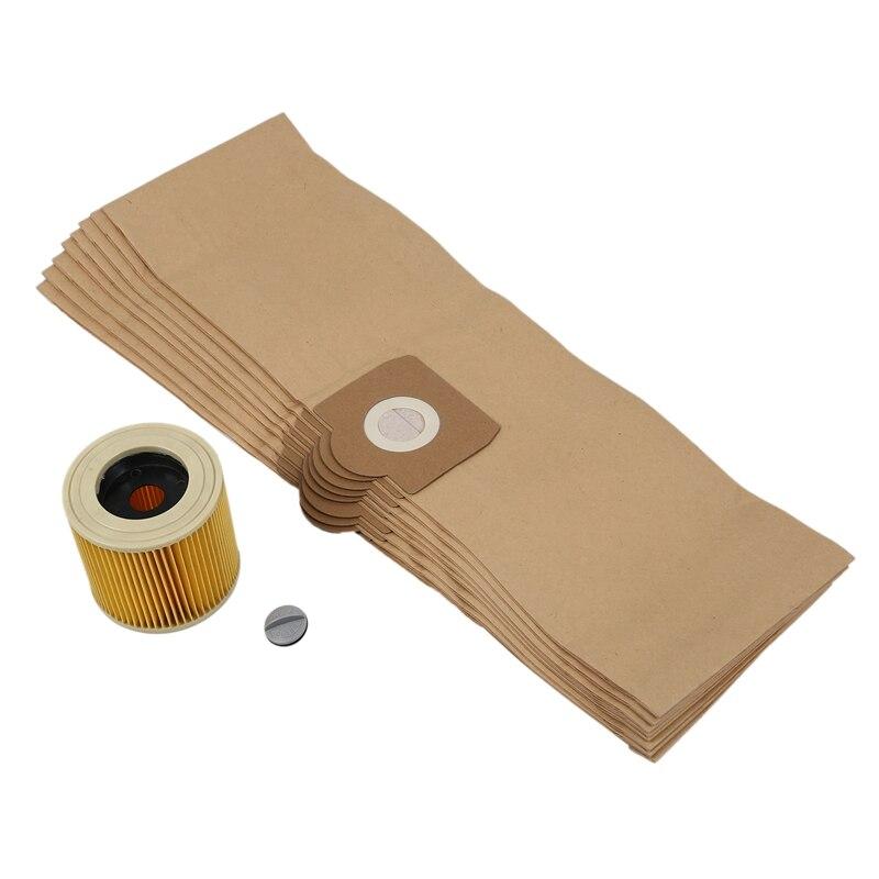 10x Dust bags microfleece for Kärcher EU I WD 6 P Premium Renovation