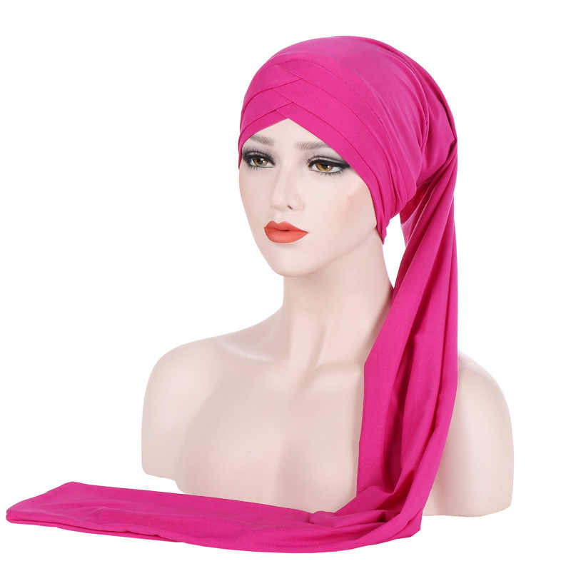 2019 plain hijab Turban Cap Muslim Long-tailed headscarf Hat islamic under scarf bonnet lady african india cap wrap head scarves