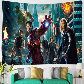 hero Comics series tapestry Anime Iron Man Wall-mounted Yoga Blanket for Boys Dormitory Canvas on the New Year decoration