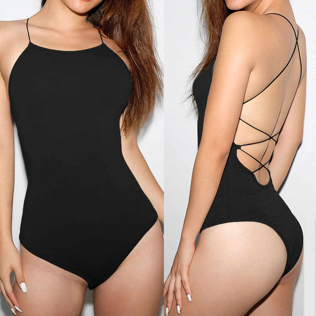 New Fashion Dames Lange Mouwen Body Suit Sexy Solid Camis Mouwloze Jumpsuit Backless Playsuit Bodysuit Pantalon Femme # A20
