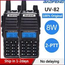 2 uds $TERM impacto Baofeng UV 82 8W Walkie Talkie 10km Doble banda transmisor VHF UHF UV 82 portátil jamón Radio CB caza transmisor