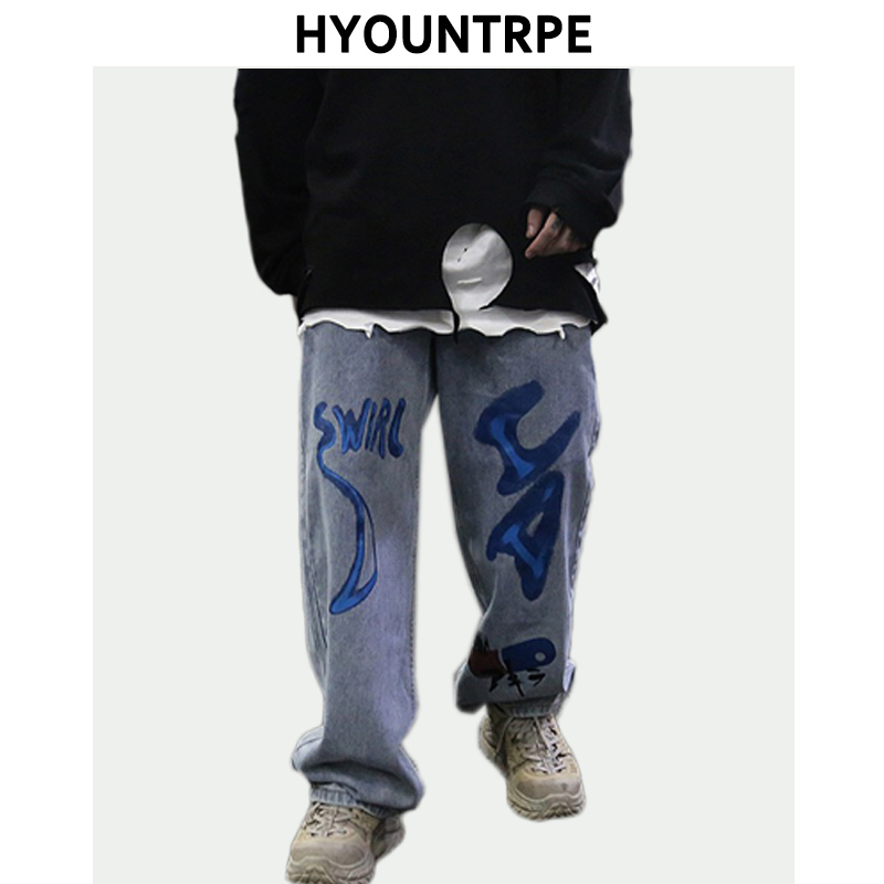 Graffiti Printed Mens Loose Straight Denim Blue Jeans Casual Hip Hop Trousers New Fashion Men Zipper Skateboard Pants Streetwear
