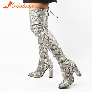 KARINLUNA New Fashion Women Snake Veins Over Knee High Boots PU High Heels Boots 10 CM Pointed Toe Square Heel Boots Shoes Woman