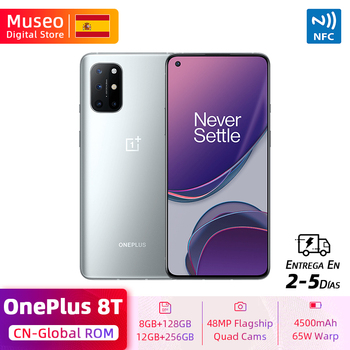 Global ROM OnePlus 8T 8 T Smartphone Snapdragon 865 128GB / 256GB 6.55'' 120Hz Fluid Display 48MP Quad Cams 65W Charge NFC