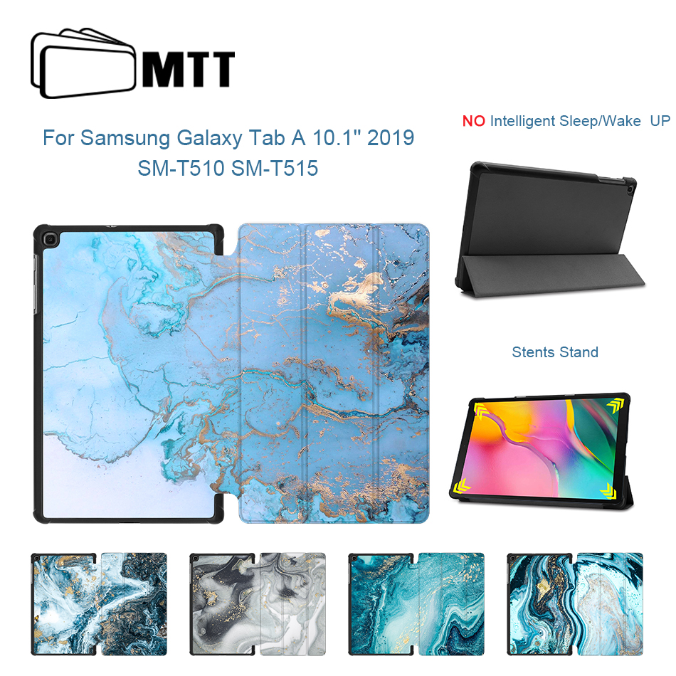MTT Case For Samsung Galaxy Tab A 10.1 inch 2019 SM-T510 T515 Marble Print Slim PU Leather Flip Fold Stand Cover Tablet coque image
