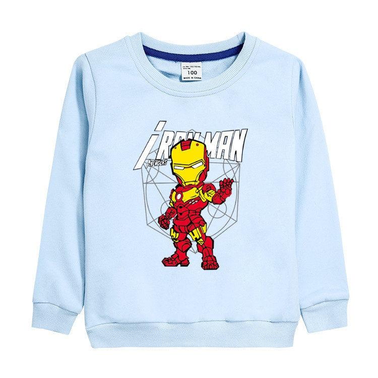 3~8 Years Autumn winter children's clothing Cartoon anime Iron hero Long-sleeved shirt T-shirt cotton blouse boy clothes gift 1