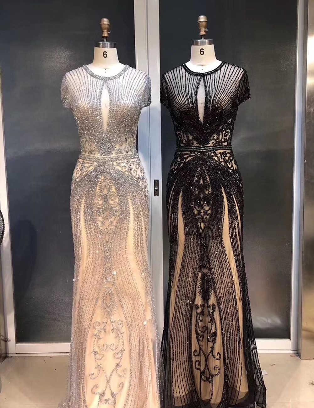 8 neue Ankunft Frauen Abendkleid Kristall Pailletten Perlen Lange O  Ausschnitt Cap Sleeve Party Kleid