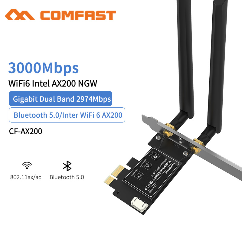 <font><b>Intel</b></font> AX200 Dual Band AX200 3000Mbps Wireless <font><b>AX200NGW</b></font> <font><b>NGFF</b></font> <font><b>M</b></font><font><b>.</b></font><font><b>2</b></font> Bluetooth 5<font><b>.</b></font>0 Wifi 6 PCI-E 1X Network Card <font><b>2</b></font><font><b>.</b></font>4G/5G 802<font><b>.</b></font>11ac/ax image