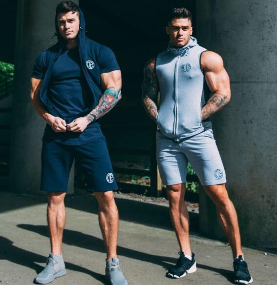 New Style Muscle Brother Sports Set Men's Running Fitness Suit Pure Cotton