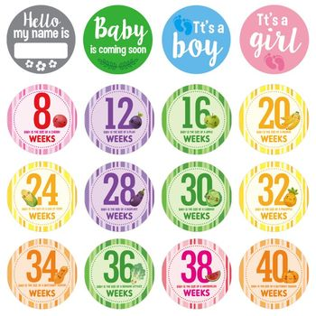 16 Pcs/Set Pregnancy Milestone Stickers Women Photography Weekly Belly Clothing Week 8 - 40 - discount item  28% OFF Classic Toys
