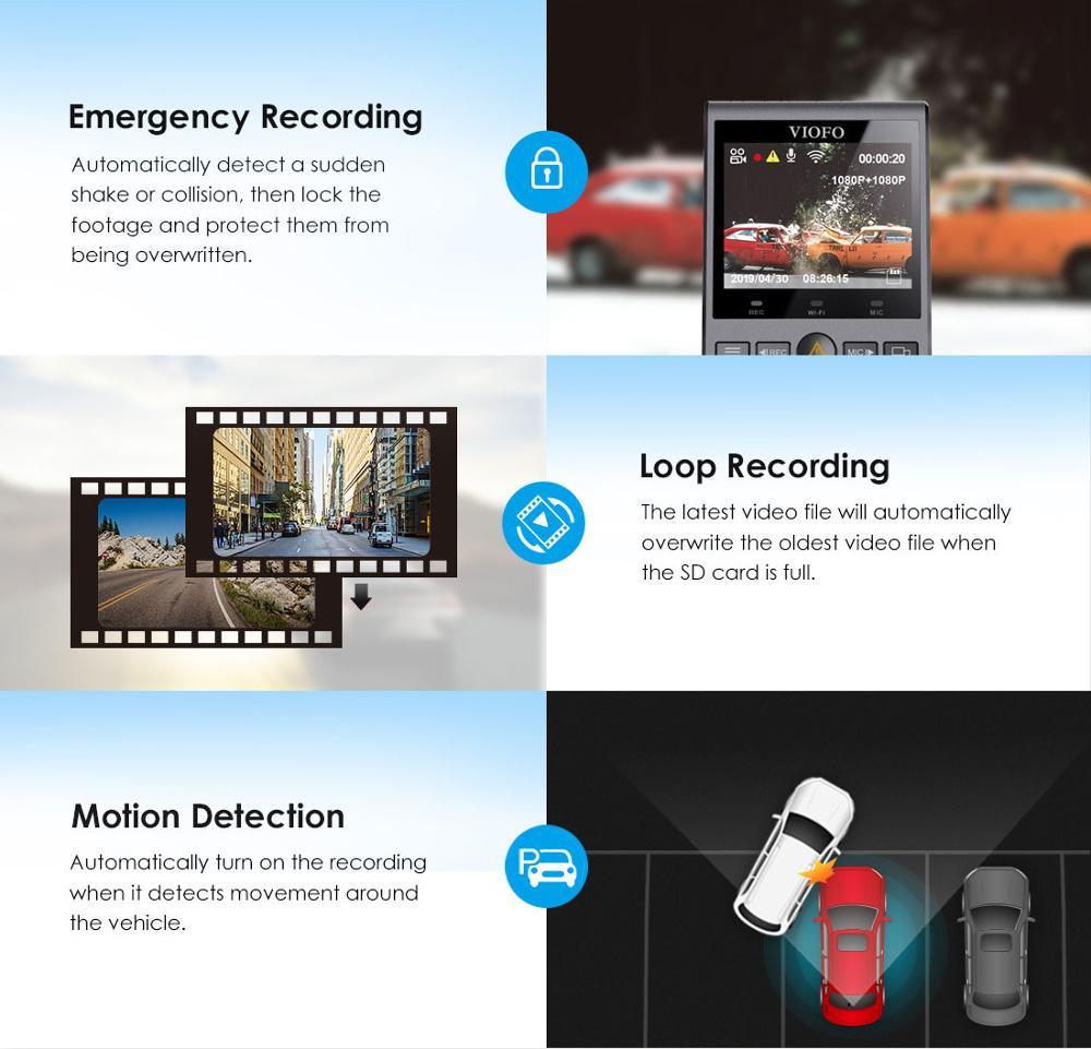 Car DVRS Dash Cam with Rear View Camera Car Video Recorder Full HD Night Vision 2 Camera Recorder with G-sensor A129DUO Dashcam 4