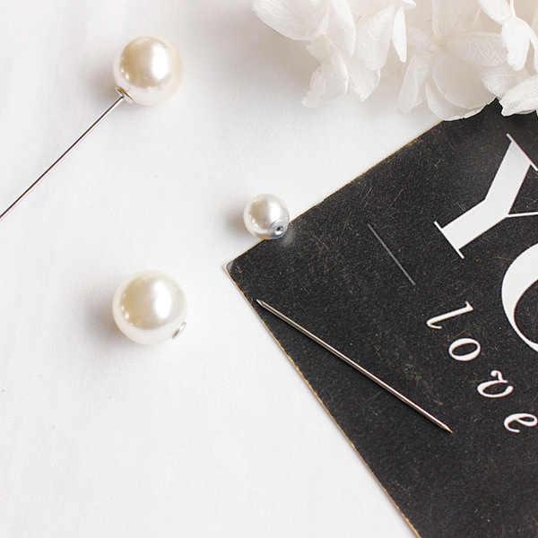 Hot Penjualan Baru Fashion Klasik Sederhana dan Serbaguna Double-Headed Mutiara Pin untuk Shirt Sweater Pin Wanita A66