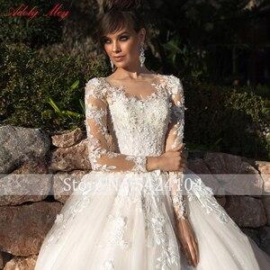 Image 5 - Adoly メイデザインゴージャスなアップリケの花ビーズ a ラインのウェディングドレス 2020 エレガントなスクープネック長袖ヴィンテージ花嫁
