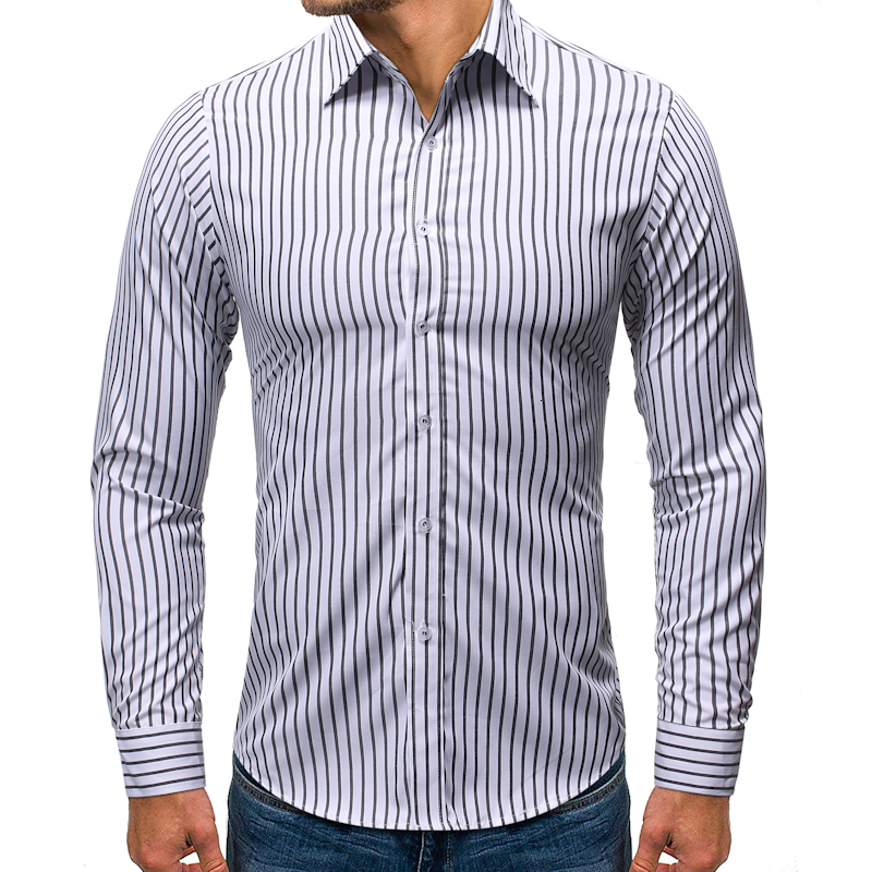 2019 Autumn New Men's Casual Long Sleeve Shirts Male Slim Fit Black Red Striped Shirt Men Business Shirt Tops S-2XL