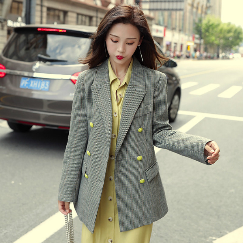 Temperament retro lady blazer Autumn new yellow double-breasted suit jacket high quality female Office top Plaid women's suit