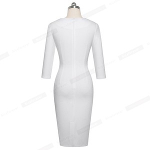 Image 2 - لطيفة للأبد أنيقة التباين اللون المرقعة مكتب مع بوتون الكشكشة vestidos الأعمال الرسمية الشتاء Bodycon المرأة اللباس B558
